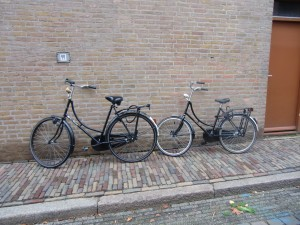"The Dutch are great bicycle riders. These are ""granny bikes"" made especially for women."
