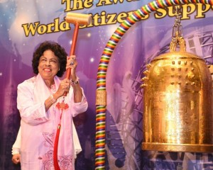 Diane E. Watson, a former U.S. Congresswoman and Ambassador, rings the Bell of World Peace and Love.