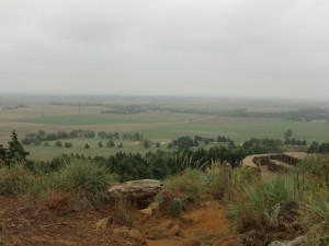 Coronado Heights rises like a great bump on the Kansas plain. Here, a view from the top.