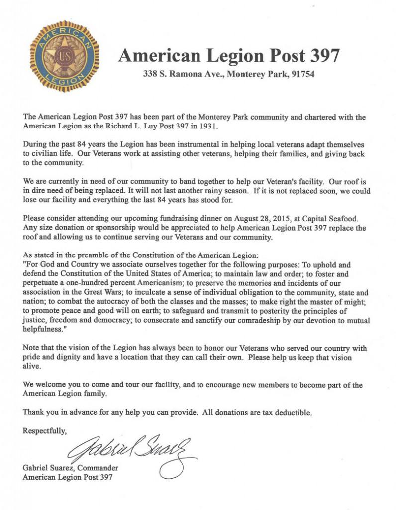 American Legion Letter