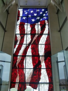 The magnificent stained glass window in the Dole Institute for Politics