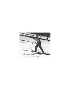 Dr. Niels Bohr skiing on Sawyer Hill