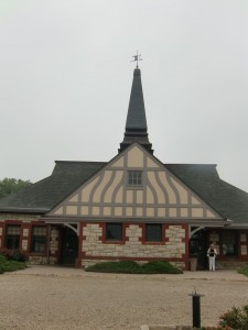 Lawrence's unusual railroad station books more like a church.  No longer in service, it now is used as a visitors center.