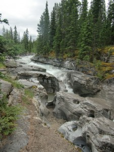 The rushing waters of Maligne Canyon have carved a niche out of solid rock.