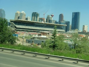 As workers are busy repairing the grounds for the Calgary Stampede, the towering buildings of the city can be seen in the background.