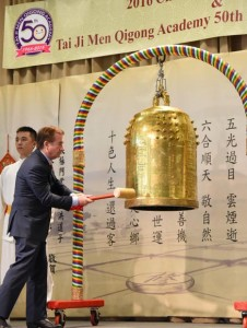 "U.S. Congressman Ed Royce, Chairman of House Committee on Foreign Affairs, rings the ""Bell of World Peace and Love,"" which has visited every populated continent on earth, to pray for California, the U.S., and the world."