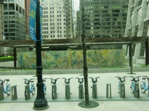 From a bus window we look at Marc Chagall's mural depicting the four seasons. Note the rental bikes in the foregound.