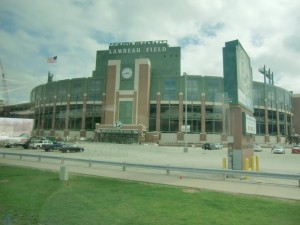 At Green Bay, our destination for the day, we pass Lambeau Field, home of the Green Bay Packers football team.