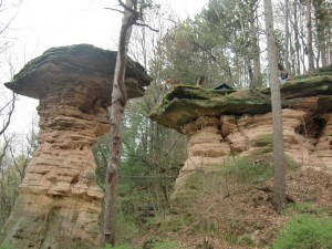 Some rock formations in the Wisconsin Dells look like giant mushrooms.