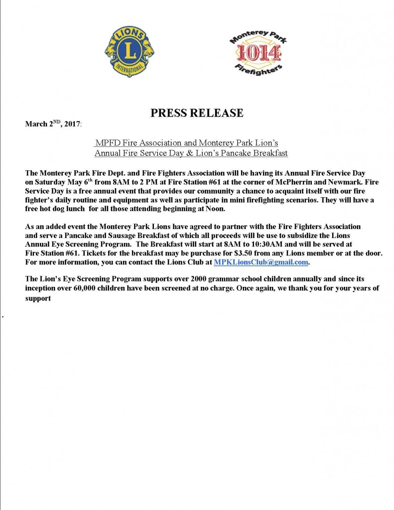 Lions & Fire Dept. Press Release Version #2-1