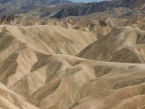 Zabriskie Point, with its sharp beige hills, looks unreal.