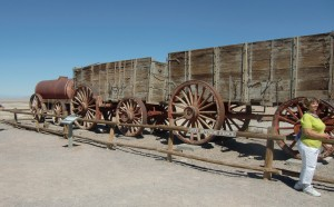 These old wagons, a few walls and weathered boilers are all that remain of the Harmony Borax Works.