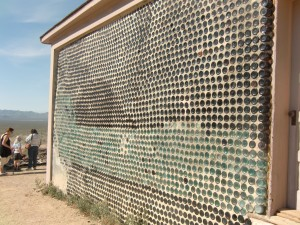 Most unusual is this house made of bottles held in place by cement.
