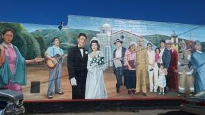 The mural depicts Latino life in Santa Paula and the Santa Clara River Valley.