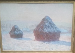 Monet completed many views of the haystacks, this one painted in winter.