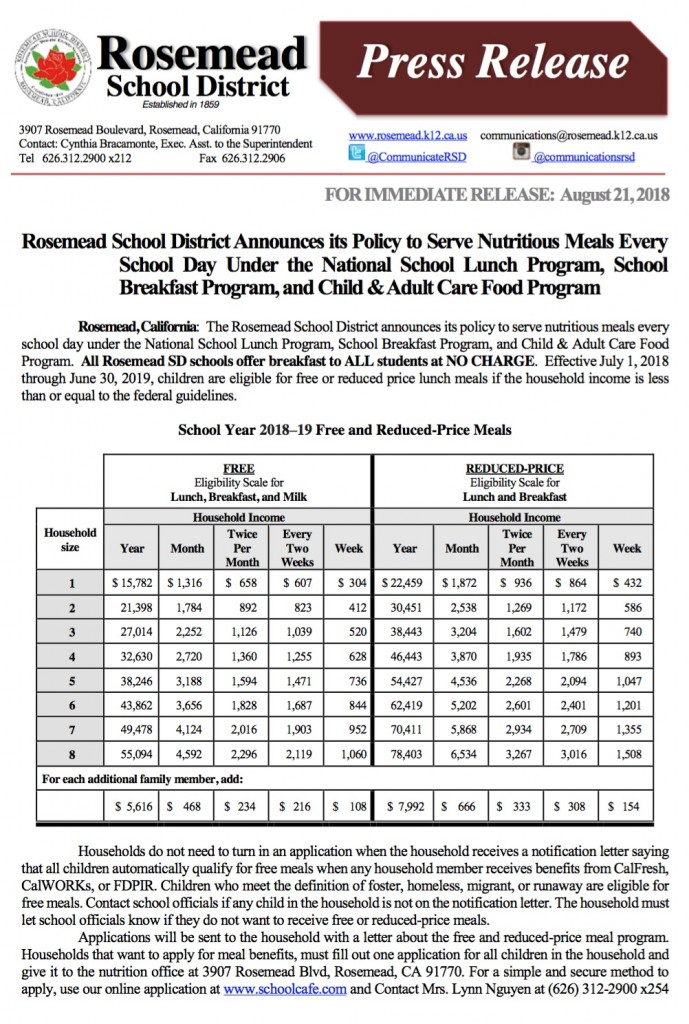 2018 0821_Rosemead SD Announces its Free and Reduced Lunch Information1