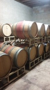 Wine ages in barrels within thick-walled alcoves.