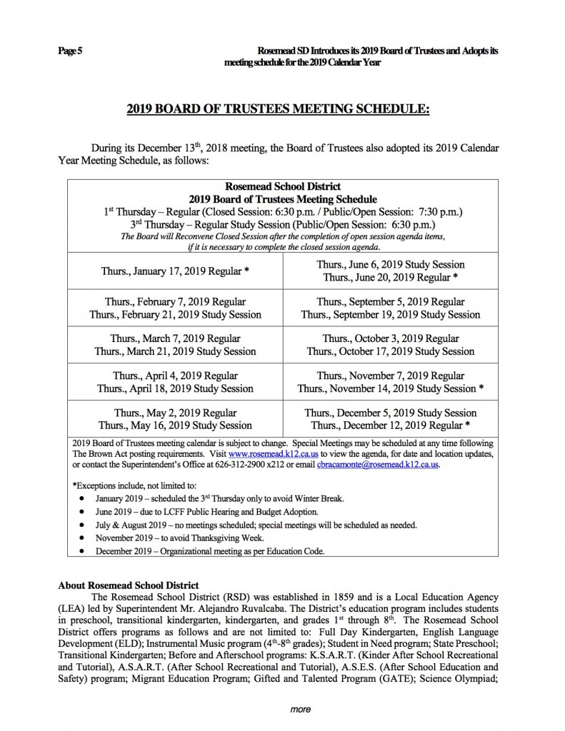 2019 01_Announcement of 2019 Board of Trustees and Meeting Schedule_released 010719d