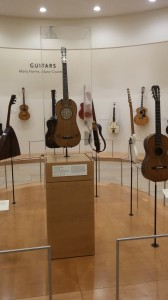 Guitars of all types are arranged in attractive displays.