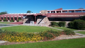 Looking at Taliesin West from the outside, one can see that the low buildings blend in with the desert.