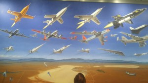 A mural in the Edwards Air Force Museum depicts the planes tested at the base.