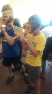 Ryan and Colin enjoyed looking through the Steriopticons.