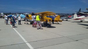 There are many planes of all types on the ground for the public to view.