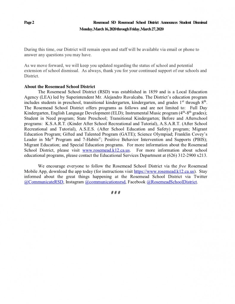 News from Rosemead School District2