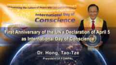 """Dr. Hong, Tao-Tze, president of FOWPAL, stressed that """"Conscience inspires acts of kindness, makes us grateful for what we have and willing to give back to society, and makes us realize that it is better to give than take."""""""