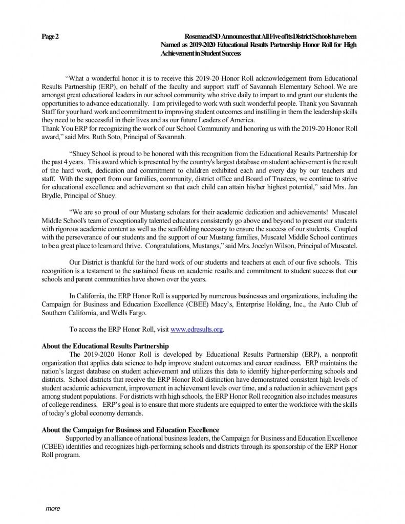 2021 0120_Rosemead SD Announces Naming of 19-20 ERP Honor Roll_pub.012021b