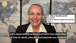 """Dr. Mary Shuttleworth, a teacher and the president of Youth for Human Rights International in the U.S., said, """"As educators, we have to develop new ways of sharing knowledge."""""""