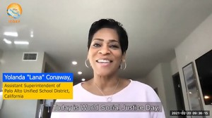 "Yolanda Lana Conaway, assistant superintendent of Palo Alto School District, California, spoke of social injustice and said, ""We have the power to see and to be a global force for equality."""