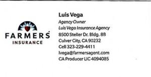 Official Luis Vega Business Card